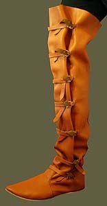 Medieval Clothing and Footwear- Premium Thigh High Boots ……… looks fake. Medieval Costume, Elizabethan Costume, Tribal Mode, Medieval Boots, Revival Clothing, Fantasy Costumes, Walk This Way, Tribal Fashion, Historical Clothing