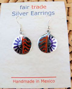 Hopi designed Alpaca Silver inlaid Earrings handmade in Mexico, Fair Trade $17.50