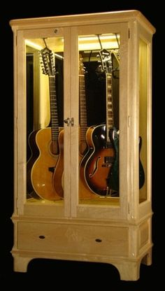 guitar humidity control case - Google Search Guitar Display Case, Guitar Storage, Ceiling Hangers, Guitar Hanger, China Display, Easy Guitar, Slat Wall, Wood Interiors, Safety Glass