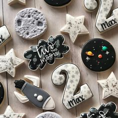 Lindsay twist on birthday cookies for a special little guy! loved this theme two the moon cutters tagged in photo planetcookies unicorn headband craft for kids 2nd Birthday Party For Boys, Second Birthday Ideas, Boy Birthday Themes, Baby Boy Birthday, Birthday Recipes, Birthday Cards, Party Mottos, Birthday Cookies, First Birthdays