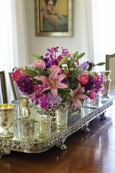 floral arrangement with mercury glass on the lovely footed silver tray Decoration Table, Table Centerpieces, Silver Centerpiece, Centerpiece Ideas, Deco Floral, Floral Design, Fresh Flowers, Beautiful Flowers, Glass Flowers