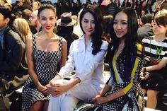 Zhang Lanxin, Li Siyu & Hou Honglan at the DVF F/W 2014 show at NYFW