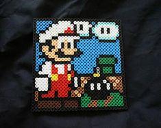 Mario World in Perler Beads Perler Bead Designs, Perler Beads, Fuse Beads, Pixel Art, Perler Coasters, Art Perle, Melting Beads, Diy Accessories, Mario Bros
