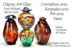 Art glass cremation urns, Tom Michael, Odyssey Art Glass