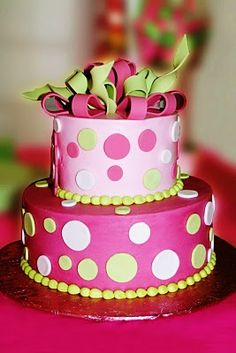 Polka dot birthday cake!  I would try it in blue colors.