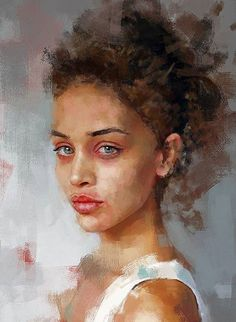 Ivana Besevic {figurative art beautiful female head woman face portrait digital painting #loveart #2good2btrue}