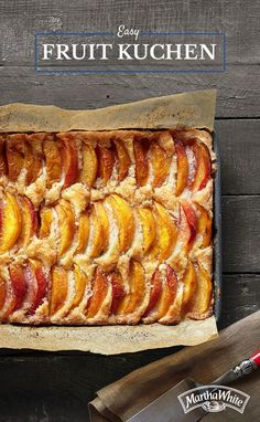 Our Easy Fruit Kuchen recipe can be made with your choice of fresh plums, peaches or apples. Our self-rising flour is simple to use and provides the fluffiness and crispness that makes this dish divine. All you have to do is combine ingredients, spread evenly in a pan and overlap slices of fruit in rows over batter. Quickly sprinkle sugar and cinnamon evenly over fruit, drizzle with melted butter and bake for 38 to 35 minutes until golden brown.