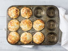 Mini Chicken Pot Pies - put canned soup into canned biscuits