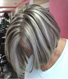 Frosted Hair Color Pictures 1233 503 Best Highlighted Streaked Foiled & Frosted Hair 1 Images In Highlight Bob, Grey Hair Transformation, Medium Hair Styles, Curly Hair Styles, Grey Hair Wig, Hair Bangs, Frosted Hair, Gray Hair Highlights, Foil Highlights