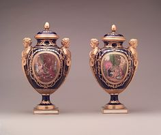 Soft-Paste Porcelain Vases With Covers (Vase des âges) Made By Serves Manufactory, Gilded By Henry-Martin Prevost - French  c.1788