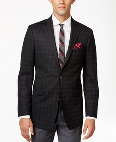 Calvin Klein Men's Charcoal Windowpane Slim-Fit Sport Coat