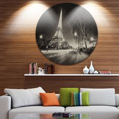 Designart 'Paris Eiffel Tower Light Performance Show in Dusk' Cityscape Round Metal Wall Art