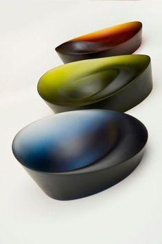 Ashraf Hanna, Artist, 3 Kiln Cast Glass Bowls