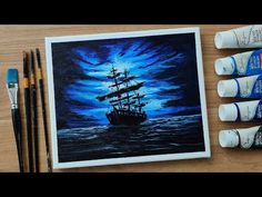 Monochrome #11 | Acrylic Painting Of Pirate Ship | Dramatic Clouds | Moonlight Sailor - YouTube Future Videos, Acrylic Canvas, Moonlight, Pirates, Sailor, Monochrome, Clouds, Ship, Night
