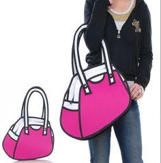 free shipping,3D/2D women's totes bag, 3D/2D ladies fashion cartoon totes bag, 2D/3D cartoon shoulder bag! $20.99