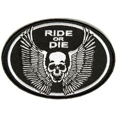 Ride or die small skull with wings patch Biker Patches, Skull Patches, Iron On Patches, Small Skull, Ride Or Die, Wings, How To Apply, Gas Pumps, Biker Chick