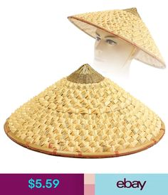 Lot of 5 Vietnamese Asian oriental straw bamboo viet cong conical palm leaf hat