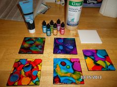 DIY ceramic coasters.   You will need alcohol ink, glazed white ceramic tiles, alcohol, paper towels, Clear spray paint, foam cork or felt   STEPS   1. wet a paper towel with alcohol and lightly clean tile and leave a thin film of alcohol on the tile.  2. quickly drop alcohol ink on tile while it is still wet.  3.(optional) paint sides of coasters with any color paint 4. let dry 1-2 hrs 5. Spray tiles with clear spray paint 6. apply felt, cork, or foam to bottom