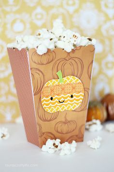 Washi Tape Pumpkin Halloween Popcorn Box #halloween