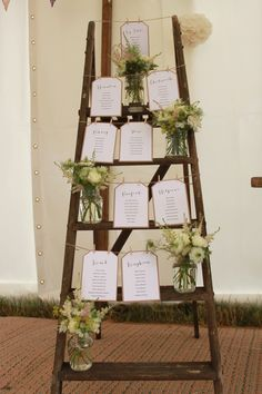 Create a rustic ladder table plan for your wedding day and save tons of £££s! Create a rustic ladder Wedding Coordinator, Wedding Events, Wedding Planner, Destination Wedding, Weddings, Wedding Table, Rustic Wedding, Wedding Day, Ladder Wedding