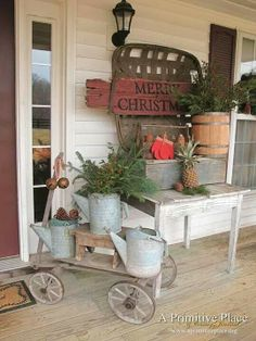 45 Cool Rustic Christmas Home Decorating Ideas Country Style Christmas Porch Christmas Decorations For The Home, Christmas Porch, Primitive Christmas, Country Christmas, Outdoor Christmas, Vintage Christmas, Christmas Christmas, Christmas Ideas, Porch Ideas For Winter