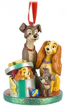 Lady and Tramp with Lady's pups sketchbook ornament (2010)