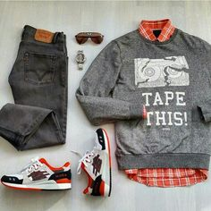 Outfit grid - 'Tape This' sweatshirt