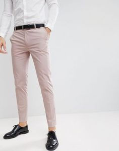 Shop the latest ASOS DESIGN wedding skinny suit pants in putty stretch cotton trends with ASOS! Costume Slim, Mode Costume, Formal Men Outfit, Casual Wear For Men, Mens Dress Trousers, Suit Pants, Pant Shirt, Asos, Fashion Infographic