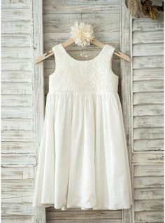 Vestidos princesa/ Formato A Coquetel Vestidos de Menina das Flores - Renda/Algodão Sem magas Decote redondo