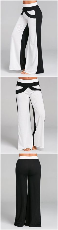 Color Block Wide Leg Pants with Bowknot