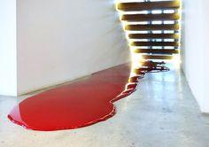 Rainer Splitt, Farbguss Rubin Pigment Pur 81 Kg, Privatsammlung Athen, 2009