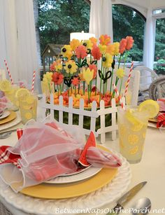 5 Whimsical Spring & Summer Table Settings - Summer Dining with an Edible Flower Garden Centerpiece