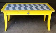 Yellow Grey and White Chevron Coffee Table with by siennabellarose Yellow Coffee Tables, Chevron Coffee Tables, Living Room Colors, Bedroom Colors, Bedroom Decor, Chevron Furniture, Painted Furniture, Grey Yellow, Grey And White