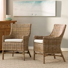 Beachcrest Home Linceman Arm Chair Patio Rocking Chairs, Outdoor Dining Chairs, Dining Arm Chair, Patio Chairs, Dining Room, Rattan Furniture, Furniture Decor, Deck Furniture, Wooden Sofa Set Designs