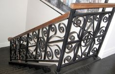 An ornamental metal railing fabricated and installed for a historic home in Chicago.