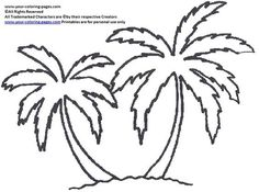 palm tree coloring pages shape for onesies - Palm Tree Beach Coloring Page