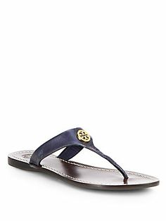 Tory Burch Cameron Crackled Mirror Leather Thong Sandals