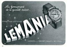 1945 Lemania Watch Company Lugrin SA 1940s Swiss Advert Publicite Suisse Montres Lemania