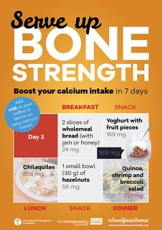 • • Boost your ‪#‎calcium‬ intake in 7 days • • Day 3 • • With today's tips you can reach up to 984 mg of calcium! Calcium is a major building block of your skeleton. Use the online IOF Calcium Calculator to estimate your average daily intake. If you are having trouble reaching your recommended levels, use these tips from the IOF Bone-friendly Recipes to easily boost your calcium, getting on track to stronger, healthier bones.