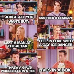 Married a lesbian, left a man at the altar, fell in love with a gay ice dancer, threw a girl's wooden leg in a fire, lives in a box. One of the best lines!