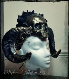 Black Skull and Ram Horn Headdress by HysteriaMachine on Etsy