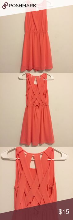 Coral Criss Cross Dress Coral Criss Cross Dress  - Coral dress - Criss cross caged back - True to size  Condition: worn a few times, good as new  Price is not firm, feel free to make an offer. NO TRADES. H&M Dresses