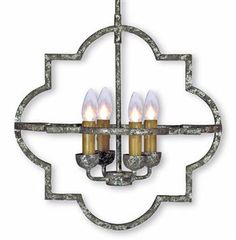 Atlas French Country Quatrefoil Antique Silver Iron Chandelier. #kathykuohome
