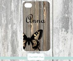 MONOGRAMMED PHONE Covers Personalized Phone Case Cases Wood Print Pattern Butterfly Butterflies Custom Samsung Galaxy IPhone Monogram Cover Wood Insect Phone Cover Case