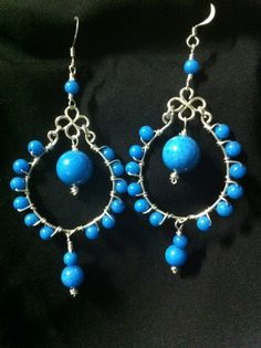 Silver and glass turquoise beads. $15