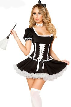4pcs Black White French Maid Costume Set