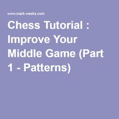 Chess Tutorial : Improve Your Middle Game (Part 1 - Patterns)