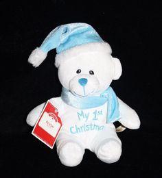 Dan Dee My 1st Christmas TEDDY BEAR Blue Hat Plush Baby Soft Stuffed First Toy #DanDee #Christmas