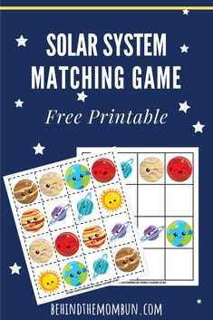 Matching Games for Kids: Solar System – Behind the Mom Bun - Handlettering Anleitung Solar System Projects For Kids, Solar System Activities, Space Activities For Kids, Space Preschool, Free Games For Kids, Printable Activities For Kids, Infant Activities, Preschool Activities, Solar System Games