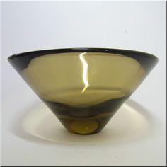 Holmegaard glass 'Oliven' (Olive) bowl, designed by Per Lutken, signed to base. Denmark, Shot Glass, Scandinavian, Base, Sculpture, Antiques, Simple, Tableware, Vintage